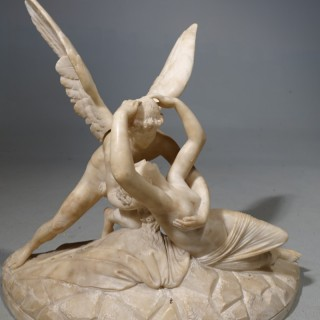 A Finely Carved Late 19th Century  Carrara Marble Figure of Leda and the Swan
