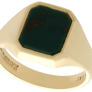 Bloodstone and 9 ct Yellow Gold Signet Ring - Vintage (1976)