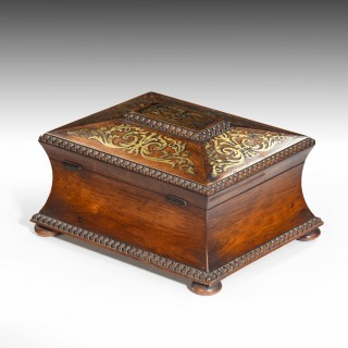 An Exceptionally Fine Regency Period Waisted and Flared Brass Inlaid Caddy