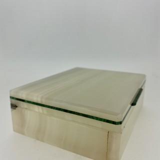 Art Deco White Onyx & Malachite Cigarette Box