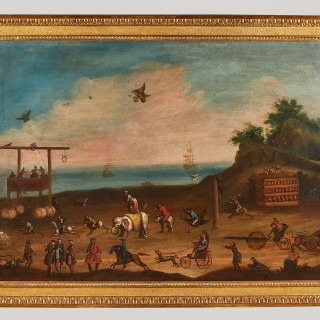 Set of Three Large and Rare Satirical Paintings