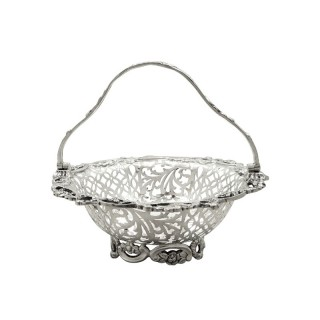Antique Victorian Sterling Silver Basket 1900