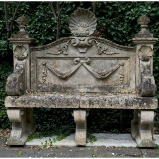 A late 19th century English limestone garden seat
