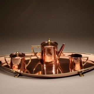 A very Stylish Copper and Brass Tea Set Circa 1900.