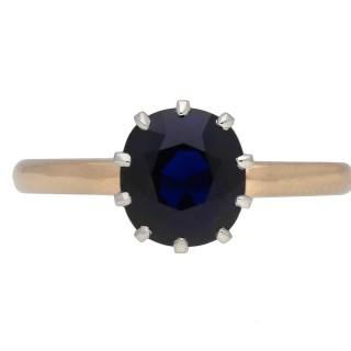 Edwardian deep Royal Blue Burmese sapphire solitaire ring, English, circa 1915.
