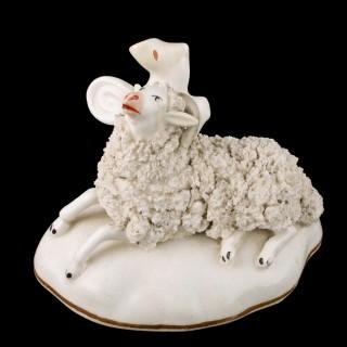 Staffordshire Porcelain Recumbent Ram