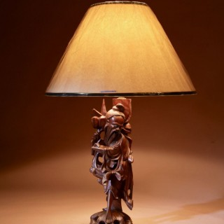 A Decorative Carved Chinese Table Lamp.