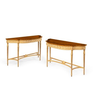 A pair of Victorian Hepplewhite style satinwood console tables
