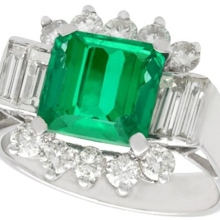 3.05 ct Emerald and 0.96 ct Diamond, 18 ct White Gold Dress Ring - Art Deco Style - Vintage Circa 1970