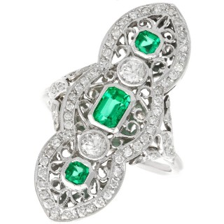 1.41ct Diamond and 0.60ct Emerald, 14ct White Gold Marquise Ring - Antique Circa 1920