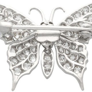 1.55 ct Diamond and 15 ct White Gold Butterfly Brooch - Antique Circa 1920
