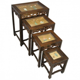 Nest of Chinese Tables with Diorama Tops
