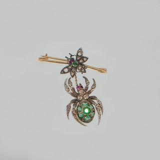Antique spider and fly brooch