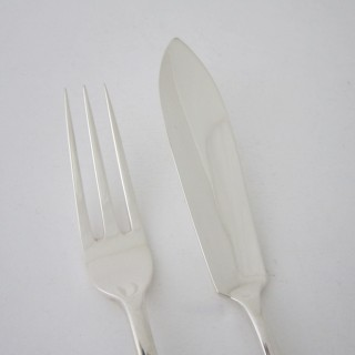 Scottish Antique Sterling silver fish knives and forks