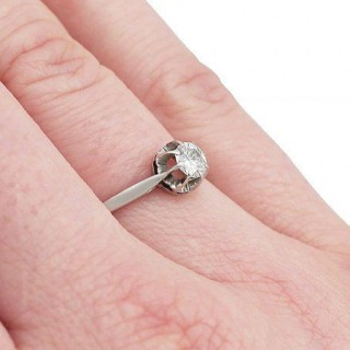 0.37 ct Diamond and 18 ct White Gold Solitaire Ring - Vintage Circa 1960