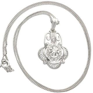 0.20 ct Diamond and 18 ct White Gold Pendant - Antique Belgian Circa 1930