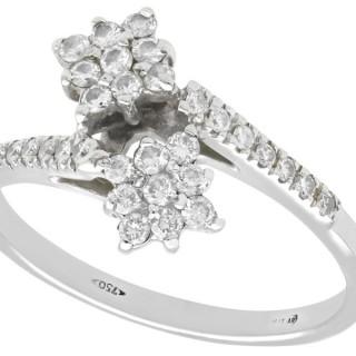 0.42 ct Diamond and 18 ct White Gold Twist Ring - Vintage Belgian Circa 1990