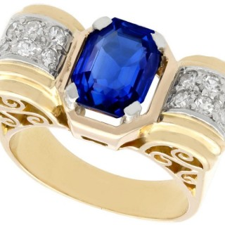 2.82ct Burmese Sapphire and 0.24ct Diamond, 18ct Yellow Gold Dress Ring - Art Deco - Antique Circa 1935