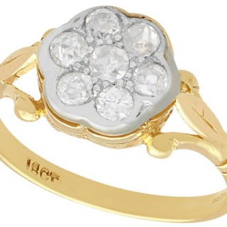 0.51 ct Diamond and 18 ct Yellow Gold Cluster Ring - Vintage Circa 1940
