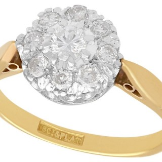 0.45 ct Diamond and 18 ct Yellow Gold Cluster Ring - Vintage Circa 1950