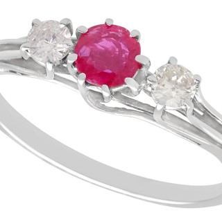 0.56 ct Ruby and 0.25 ct Diamond, 18 ct White Gold Trilogy Ring - Vintage Circa 1950