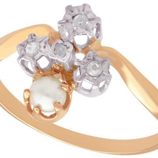 Pearl and 0.09 ct Diamond, 18 ct Rose Gold Dress Ring - Antique French Circa 1900