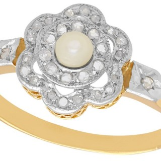 Seed Pearl and 0.18 ct Diamond, 18 ct Yellow Gold Cluster Ring - Antique French Circa 1910