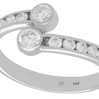 0.50 ct Diamond and 14 ct White Gold Twist Ring - Vintage Circa 1980