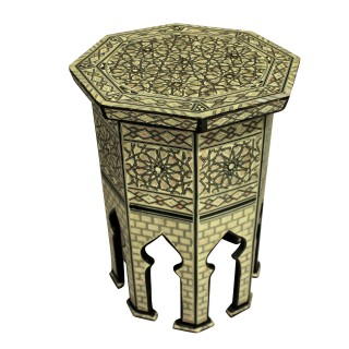 A FINE SYRIAN BONE, EBONY & MOTHER OF PEARL SIDE TABLE