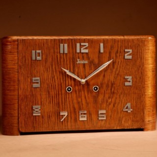 A Very Stylish German Oak Signed Junghans Art Deco Mantel Clock.