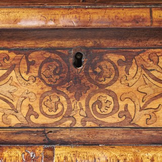 A  Fine and Rare 17th Century William and Mary Figured Walnut and Seaweed Marquetry Lace Box