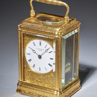 19th Century Gilt-Brass Engraved Striking and Repeating Carriage Clock