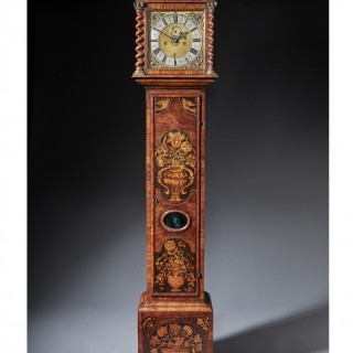 An Important Charles II 17th Century Princes Wood and Marquetry Longcase Clock