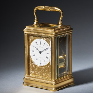 A 19th Century Repeating Gilt-Brass Carriage Clock by the Famous Drocourt