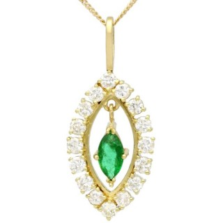 0.33 ct Emerald and 0.60 ct Diamond, 18 ct Yellow Gold Pendant - Vintage Circa 1990