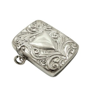 Antique Victorian Sterling Silver Vesta Case 1890