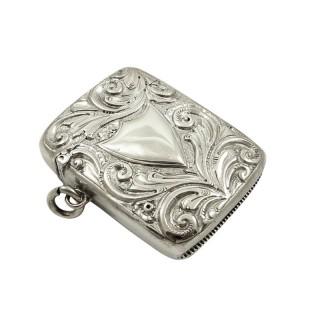 Antique Victorian Sterling Silver Vesta Case 1890