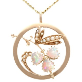 0.63 ct Opal and Seed Pearl, 9 ct Yellow Gold Pendant - Antique Circa 1920