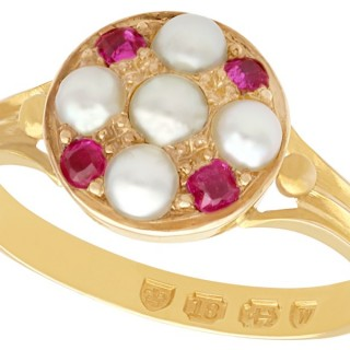 Pearl and 0.16 ct Ruby, 18 ct Yellow Gold Dress Ring - Antique 1871