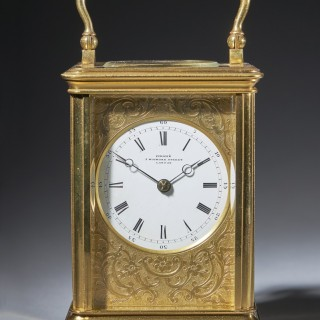 Striking 19th Century Carriage Clock with a Gilt-Brass Corniche Case by Grohé