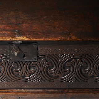 A Late 17th Century Charles II Carved Oak Bible, Deed, Blanket, or Candle Box