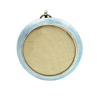 Antique Sterling Silver & Light Blue Enamel Photo Frame 1913