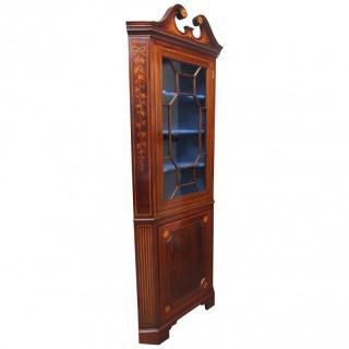 George III Inlaid Mahogany Corner Cupboard