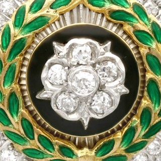 1.02ct Diamond and Enamel, 14ct Yellow Gold Sweetheart Brooch - Antique Circa 1920