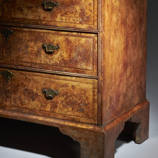 18th Century George I  Highly Figured Walnut Double Dome on Chest, Provenance