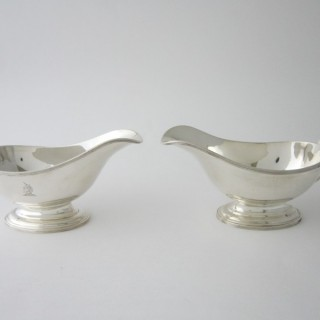 Pair of Antique George V Sterling silver sauce boats