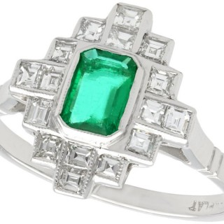 0.59ct Emerald and 0.59ct Diamond, Platinum Dress Ring - Art Deco - Vintage Circa 1940