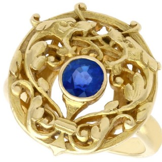 0.48ct Sapphire and 18ct Yellow Gold Dress Ring - Antique French Circa 1930