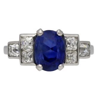 Vintage Burmese sapphire and diamond ring, French, circa 1950.