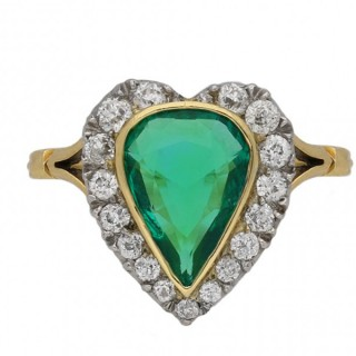 Edwardian Colombian emerald and diamond cluster ring, circa 1905.